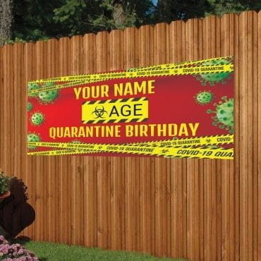 red and green quarantine birthday banner